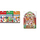 Melissa & Doug On the Go Water Wow! Activity Book, 3-Pack - Animals, Alphabet, and Numbers with Melissa & Doug Puffy Sticker Play Set - On the Farm - 52 Reusable Stickers, 2 Fold-Out Scenes Bundle