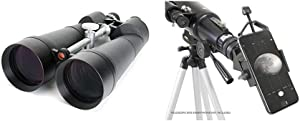 """Celestron SkyMaster 25X100 Astro Binoculars with Deluxe Carrying case and Celestron 81035 Basic Smartphone Adapter 1.25"""" Capture Your Discoveries, Black"""
