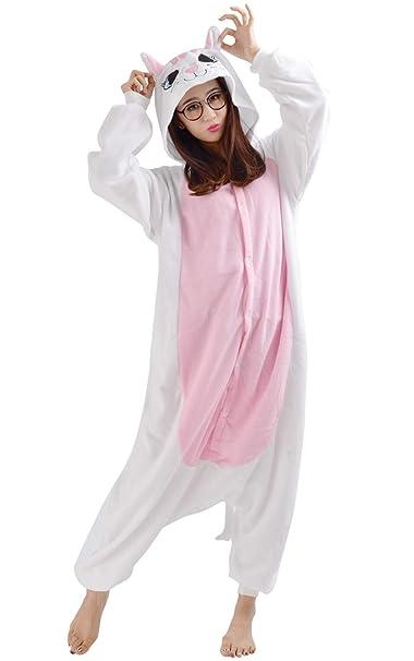 Unisex Animal Pijama Ropa de Dormir Cosplay Kigurumi Onesie Gato Blanco Disfraz para Adulto Entre 1