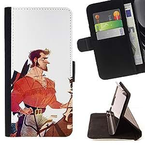 Momo Phone Case / Flip Funda de Cuero Case Cover - Héroe Caballero Vaquero Blanco Rojo - Samsung ALPHA G850