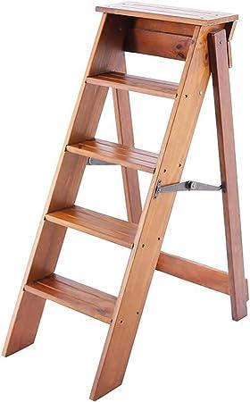 MultifuncióN Estante Almacenamiento Baldas Pasos plegables Escaleras con peldaños de madera 5 escalones Brwon Taburete plegable ligero con peldaños Escalera de tijera multiusos Escaleras plegables Est: Amazon.es: Hogar