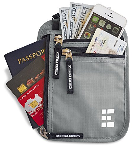 Zero Grid Neck Wallet w/RFID Blocking- Concealed Travel Pouch & Passport Holder - Stores International Marketplace
