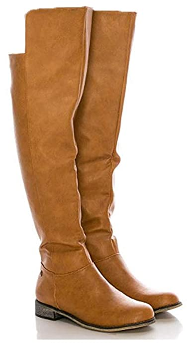 aaaaf28889f CALICO KIKI Women's Knee High Boots – Faux Leather Over The Knee Boots with  Side Zip and Low Heel