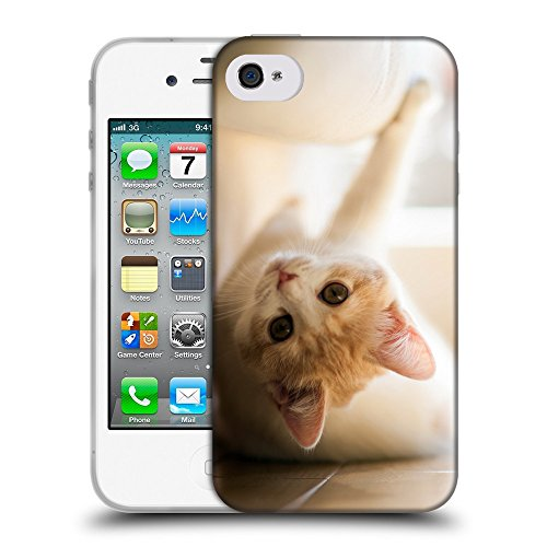 Just Phone Cases Coque de Protection TPU Silicone Case pour // V00004175 chaton rouge amuser sur un plancher // Apple iPhone 4 4S 4G