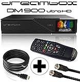 Dreambox DM900 UHD 4K 1x DVB-S2 Dual Tuner E2 Linux PVR Receiver (inkl. gratis Kabelset: 1x HDMI Kabel + 1x 1,5m SAT Anschlusskabel) schwarz