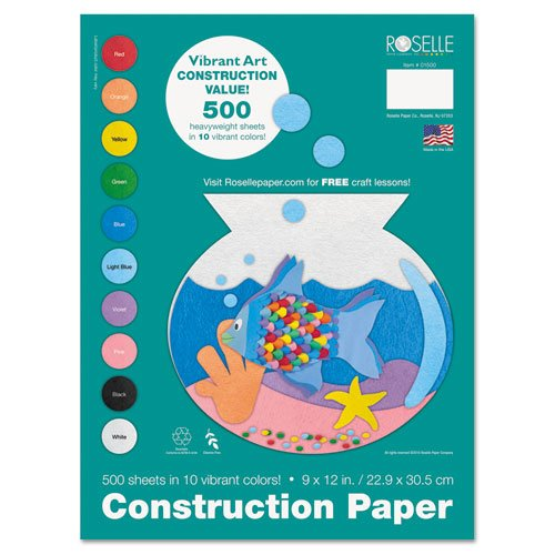 ROSELLE 1500 Heavyweight Construction Paper, 58 lbs., 9 x 12, Assorted, 500 Sheets/Pack