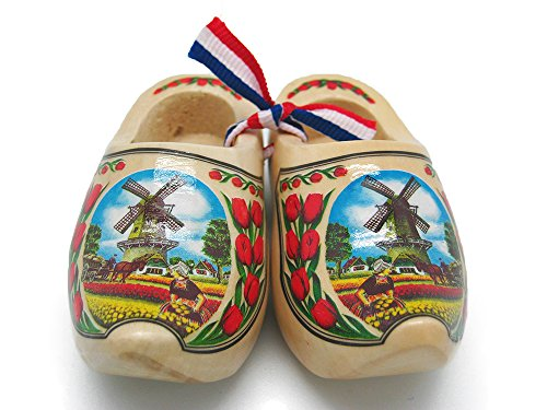 Essence of Europe Gifts E.H.G Decorative Wooden Shoe Clogs Dutch Landscape Design Natural Tulips (3.25