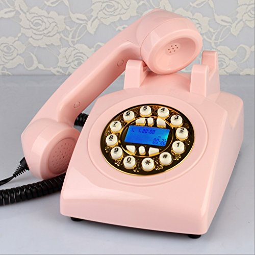 Antique Telephone / Buttons The Wired Phone / Home Desk Deskphone /Caller ID Speaker Phone L23CM W13CM H13CM ( Color : Pink ) by GFL
