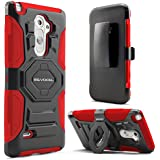 LG G3 Stylus (D690) Case, Evocel® [New Generation] Dual Layer Rugged Holster Case (DOES NOT FIT LG G3) with Kickstand and Belt Swivel Clip For LG G3 Stylus (D690) - Retail Packaging, Red