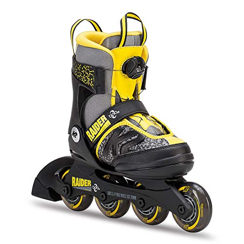 K2 Skate Raider Boa Inline Skates, Gray/Yellow, Size 1-5,...