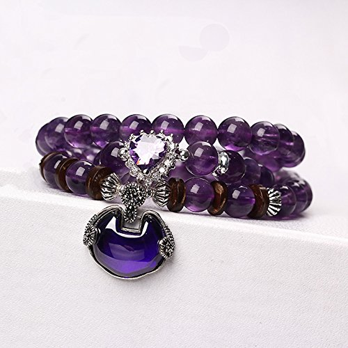 OMZBM Natural Amethyst Gemstone Bracelet S925 Sterling Silver Heart-Shaped Wish Lock Crystal Pendant Necklace Purple Dual Use For Women Jewelry 8Mm