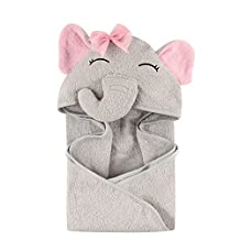Hudson Baby Animal Face Hooded Towel for Girls, Pretty Elephant by Hudson Baby