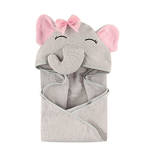 Hudson Baby Unisex Baby Animal Face Hooded Towel, Pretty Elephant 1-Pack, One -