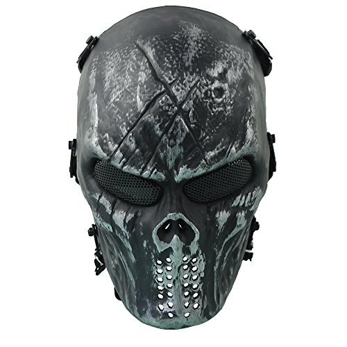 Homeditor Halloween Skull Mask Tactical Airsoft Mask with Metal Mesh Eye Protection for Halloween,Costume Party,Paintball,Outdoor Hunting and CS War Game (Iron (Photo Skull Face Paint Halloween)