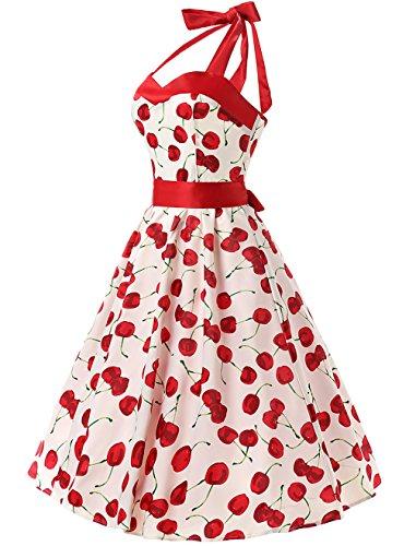 01fc003df DRESSTELLS Vintage 1950s Rockabilly Polka Dots Audrey Dress Retro Cocktail  Dress Cherry White XS