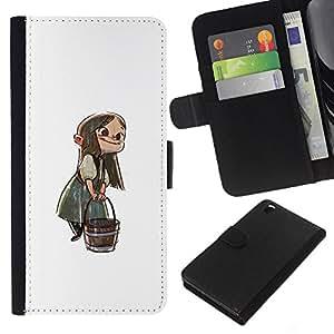 KLONGSHOP // Tirón de la caja Cartera de cuero con ranuras para tarjetas - Anime Girl dibujos animados del cuento de hadas Bucket Carácter - HTC DESIRE 816 //
