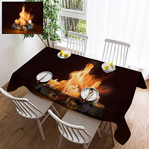 (HOOMORE Simple Color Cotton Linen Tablecloth,Washable, Advent Wreath Caught fire Decorating Restaurant - Kitchen School Coffee Shop Rectangular 54×39in)