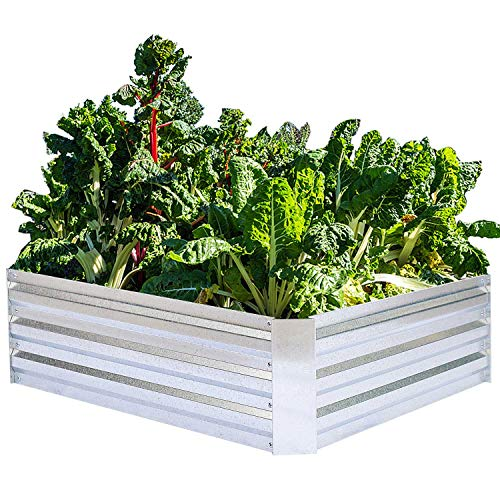 - Galvanized Raised Garden Beds for Vegetables Metal Planter Boxes Outdoor Flower Bed Kit Steel Patio 4x3x1FT