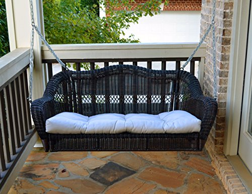 Tortuga Portside Porch Swing, Dark Roast Wicker with Custom Cushion Fabric (Wicker Furniture Front Porch)