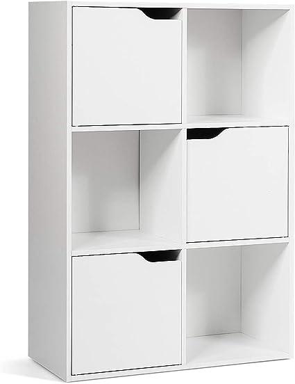 CSOTWAY Estantería con 6 Compartimentos Armario Estante para Oficina Archivos Librería de Blanco para CD Libro Almacenamiento