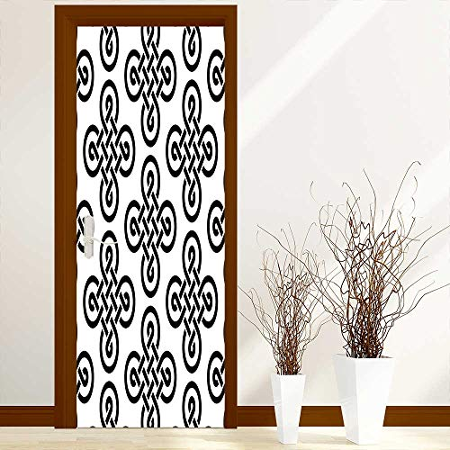 (L-QN Modern Door Art Vinyl Decals Old Fashion Irish Celtic Knot Motifs in Symmetric Regular Design European Culture Theme Wall Art Décor Sticker W36 x H79 inch)