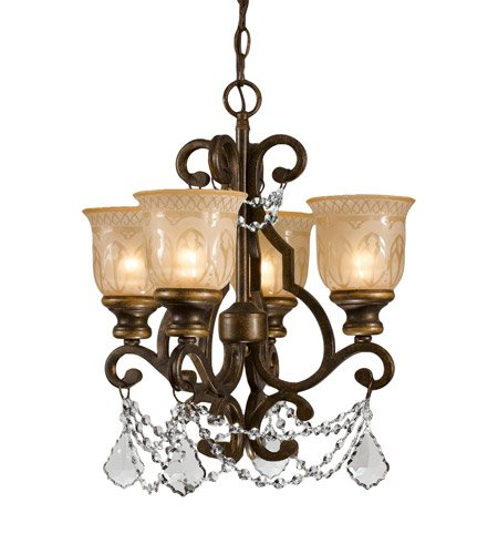 - Mini Chandeliers 4 Light with Bronze Umber Clear Swarovski Strass Amber Etched Wrought Iron 17 inch 240 Watts - World of Lighting