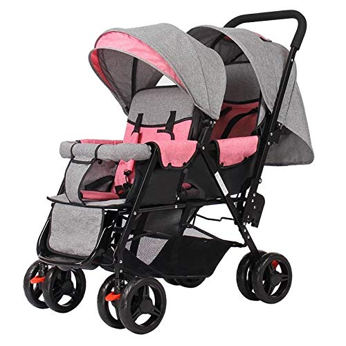LQRYJDZ Double Stroller,Sitting Back and Forth Tandem Stroller, with Adjustable Backrest, Footrest, 5 Points Safety Belts, Foldable Design for Easy Transportation (Color : F)