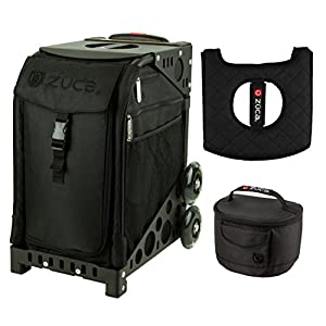 Zuca Sport Bag Stealth with Gift Lunchbox and Seat Cover (Black Non Flashing Wheels Frame)