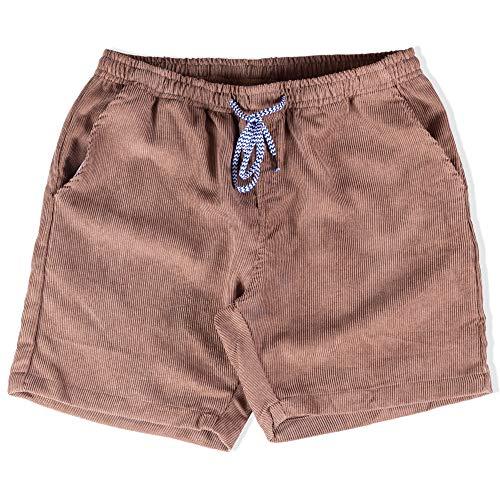 Visive Shorts for Men Elastic Waist Corduroy Drawstring Basic Essentials Short Small Khaki