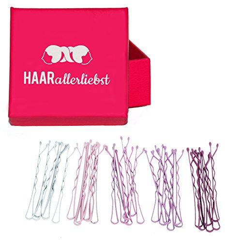 HAARallerliebst 30 Haarklammern Bobby Pins Haarnadeln Weiss, rosa, lila in Pinker Box 10089