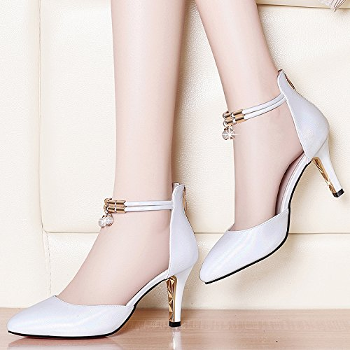 heels Sandals High Jqdyl Heeled High New Wild Shoes Mouth Shallow Spring Women'S beige Summer C Fine With Pointed Shoes Bg5qCxag
