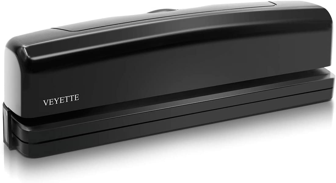 Electric 3 Hole Punch, VEYETTE Black Fast Hole Puncher 15-20 Sheets,Use AC or 6 AA Battery