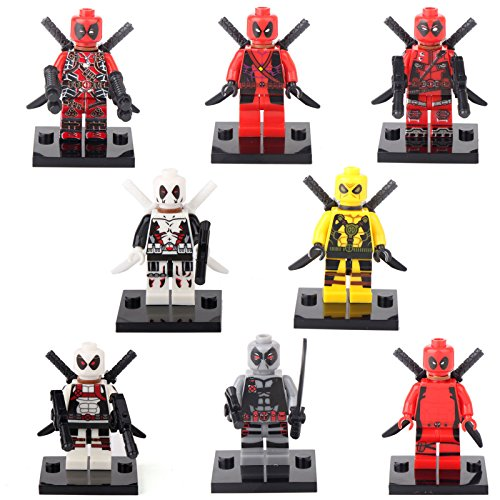 Deadpool Spider-Man Super Hero 8 Minifigures Building bricks Toy Xmas gift lEGO (How To Make Superhero Costumes)