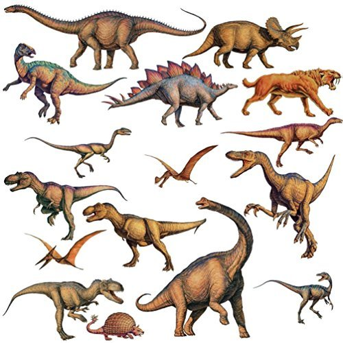 Lunarland DINOSAURS 16 BiG Wall STICKERS Boys Room Decor Decals Bedroom Decoration T-REX Penguin Fairy Lights