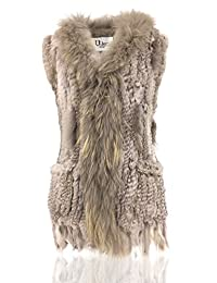 Uilor Women Knitted Rabbit Fur Vest with pocket