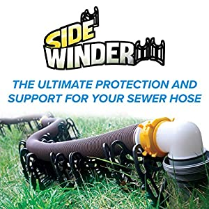 Camco 15ft Sidewinder RV Sewer Hose Support, Made From Sturdy Lightweight Plastic, Won't Creep Closed, Holds Hoses In Place – No Need For Straps (43041)
