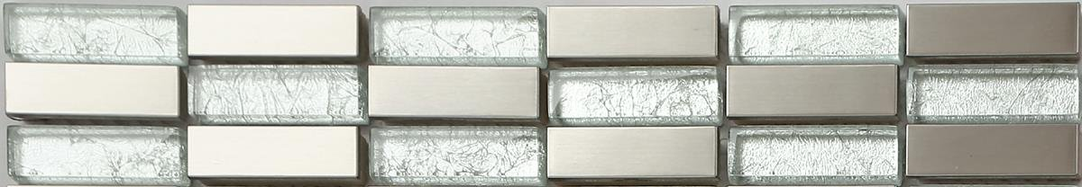 30x5cm Brushed Stainless Steel Silver Foil Brick Bathroom Kitchen Feature Mosaic Tiles Strip (MB0103) Grand Taps