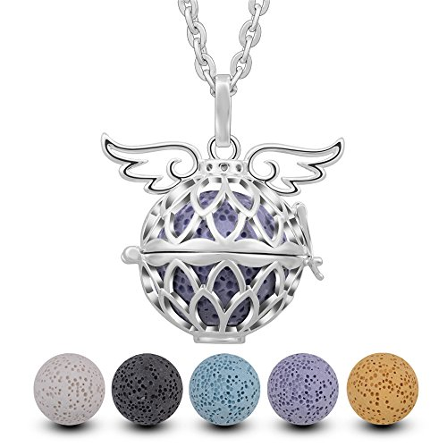 INFUSEU Angel Wings Lotus Flower Mandala Aromatherapy Essential Oil Diffuser Locket Pendant Necklace