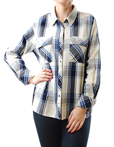Rails Women's Brayden Cotton Long Sleeve Buttondown Cream/ Indigo Size S