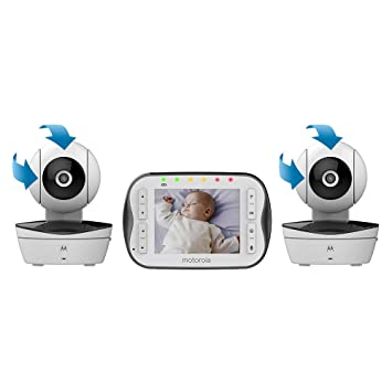 motorola 2 baby monitor. motorola video baby monitor with 2 cameras - mbp43s-2 a