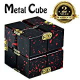 Metal Infinity Cube Black Aluminum Alloy Red Blood Fidget Pressure Reduction Toy