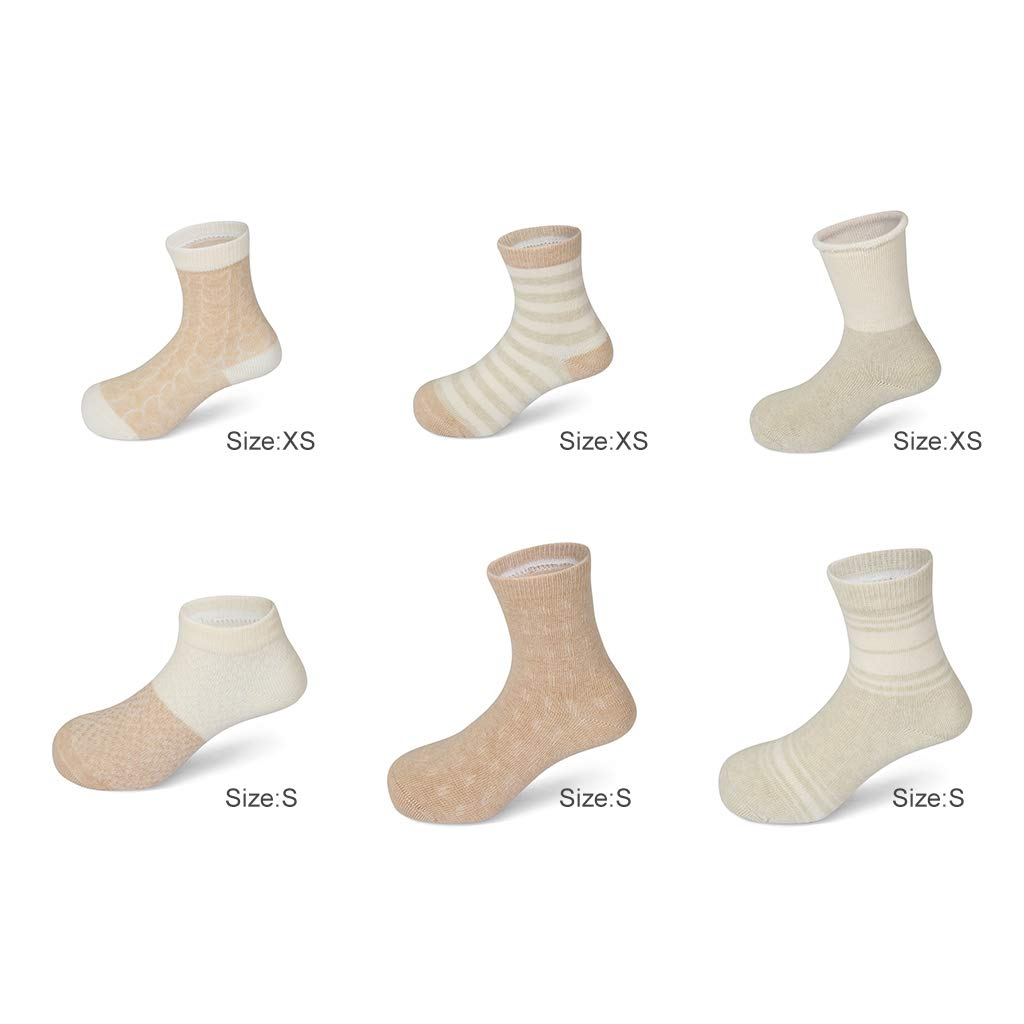 Ami/&Li KidsGrowth Suit 6-Pairs Pack Deluxe Soft Natural Colored-Cotton Cute Socks for Baby Boys Girls