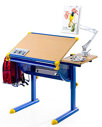 Merax¨ Adjustable Drawing and Drafting Table Student Desk Art Station_Blue_