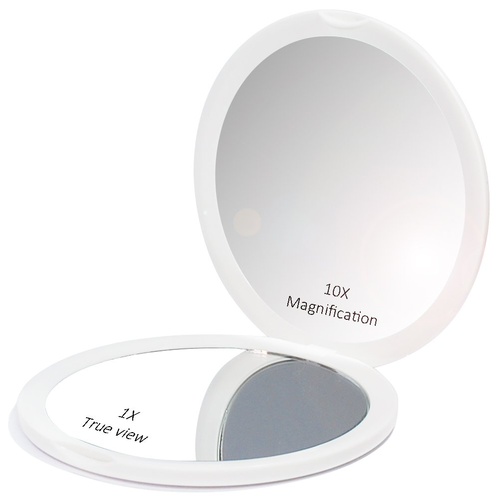 Makeup Pocket Mirror with 10x Magnification Glass Plus Plain Mirror (White) V & H Home Supplies