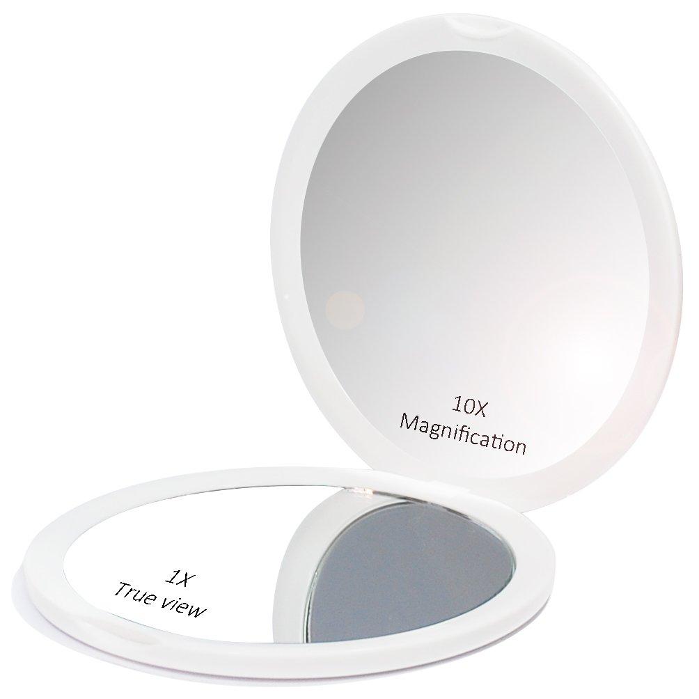 ed14dc69fa Makeup Pocket Mirror with 10x Magnification Glass Plus Plain Mirror (White)