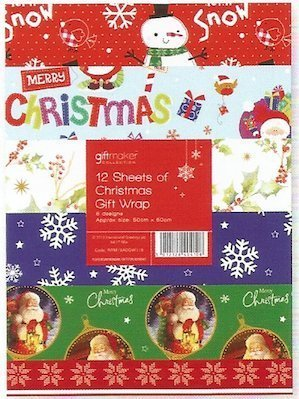 Price comparison product image 12 Sheets of Christmas Gift Wrap