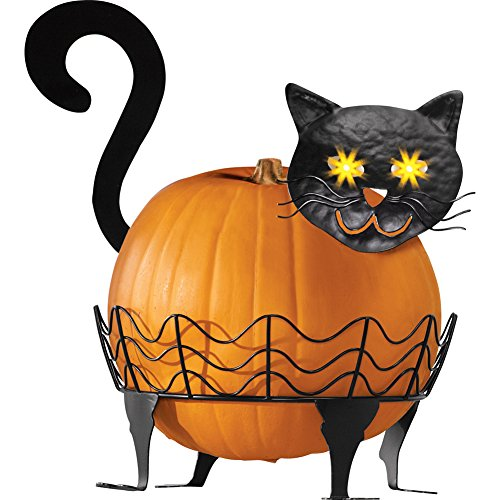 Collections Etc Black Cat Pumpkin Holder