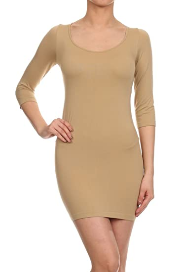 7bac60f1478 Leggings Depot Women s Sexy Bodycon Scoop Neck Mini Dress (Junior ...