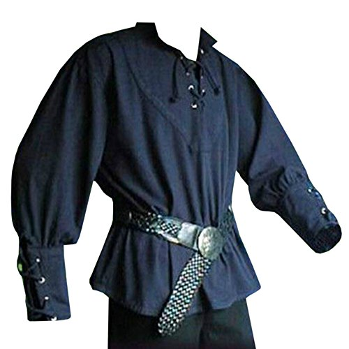 Bbalizko Mens Medieval Retro Cosplay Costume Lace up Stand Collar Shirt Tunic Tops (3XL, Blue) for $<!--$16.88-->