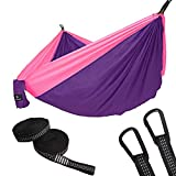 SONGMICS Ultra-Lightweight & Portable Hammock Hold up to 660LB Single & Double Parachute Nylon Camping Hammock Swing Bed 118'' x 78'' for Outdoor Backpacking, Hiking, Yard, Traveling
